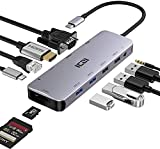 ICZI Hub USB C Thunderbolt 3 12 en 1 Adaptador USB Tipo C a 4 USB HDMI 4K Dex VGA RJ45 Ethernet Lector de Tarjeta SD TF USB-C Power Delivery Audio Jack Docking Station para Macbook Pro etc