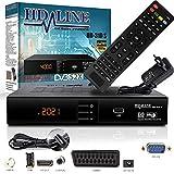 HD-LINE Receptor HDMI Satélite Receptor de satélite Digital HD Receptor HDMI DVB S2 para Sat HD Receptor HDMI Satélite Receptor HDMI HD Sat Digital para Satélite Receptor para TV DVB-S, con PVR Negro