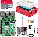 Raspberry Pi 4 8GB RAM con Tarjeta SD de 32GB Precargada con Raspberry Pi OS, Cable 5V 3A con On/Off, 2 Micro HDMI, Gran Disipador de Calor, 2 Ventiladores, Caja Roja y Lector de Tarjetas