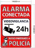 Cartel Alarma Conectada A5 Interior/exterior | Placa Disuasoria PVC Flexible, Cartel Aviso a Policía, 21x15 cm Rojo…