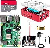 Raspberry Pi 4 8GB RAM con Tarjeta SD 128GB Precargada con Raspberry Pi OS, Cable 5V 3A con On/Off, 2 Micro HDMI, Un Gran Disipador de Calor, 2 Ventiladores, Caja Roja y Lector de Tarjetas