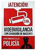 WOLFPACK LINEA PROFESIONAL 15050921 Cartel Alarma Conectada Aviso A Policía, 30 x 21 cm