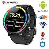 LEMFO LEM X - Ip67 Resistente al Agua Android 7.1 4G Reloj Inteligente móvil - MT6739 1GB + 16GB, Pantalla de 2.03 Pulgadas, cámara de 8MP/Bluetooth/GPS/WiFi/ 900mAh batería