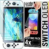 Orzly paquete de protectores de pantalla para la consola OLED de Nintendo switch modelo 2021 - Paquete de 4 vidrio templado con accesorios de fácil instalación Edición de por vida