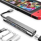 USB tipo C a HDMI Digital AV Multiport Hub USB-C Adaptador PD Cargador para Nintendo Switch, con USB 3.0, USB 2.0 x2, 4K HDMI Dock para Samsung Dex Station S21/S20/Note 20 Travel TV Dockingstation