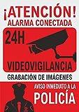 Señal alarma conectada - material PVC rígido - A4 - Cartel disuasorio - Carteles alarma casa