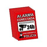 Pegatina alarma securitas - Cartel zona videovigilada adhesivo - Pegatinas Aviso a la Policía - Placa videovigilancia Rojo Interior/Exterior (14,8 x 10,5 cm) (6 Piezas Pegatinas zona videovigilada)
